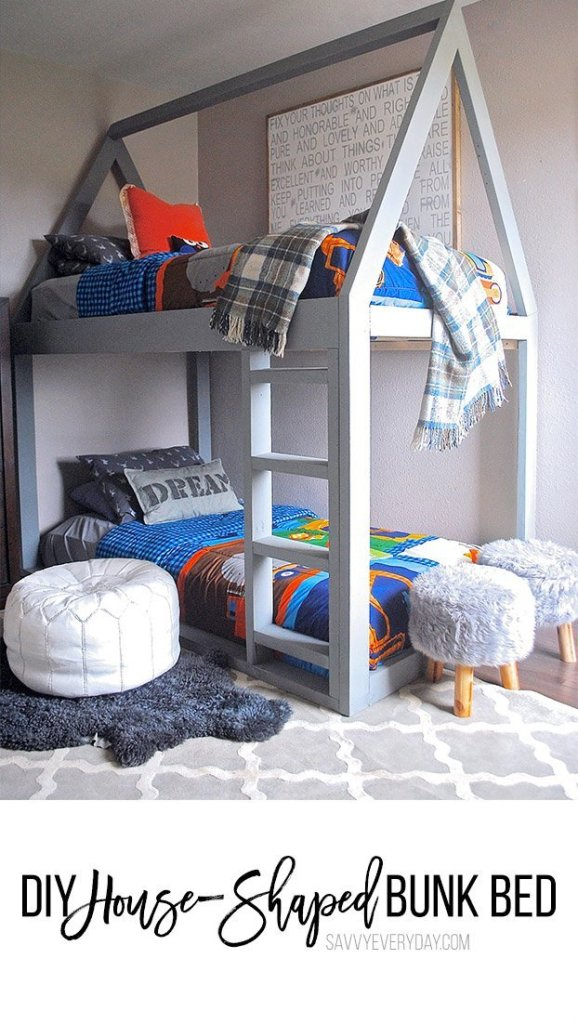 DIY House-Shaped Bunk Bed
