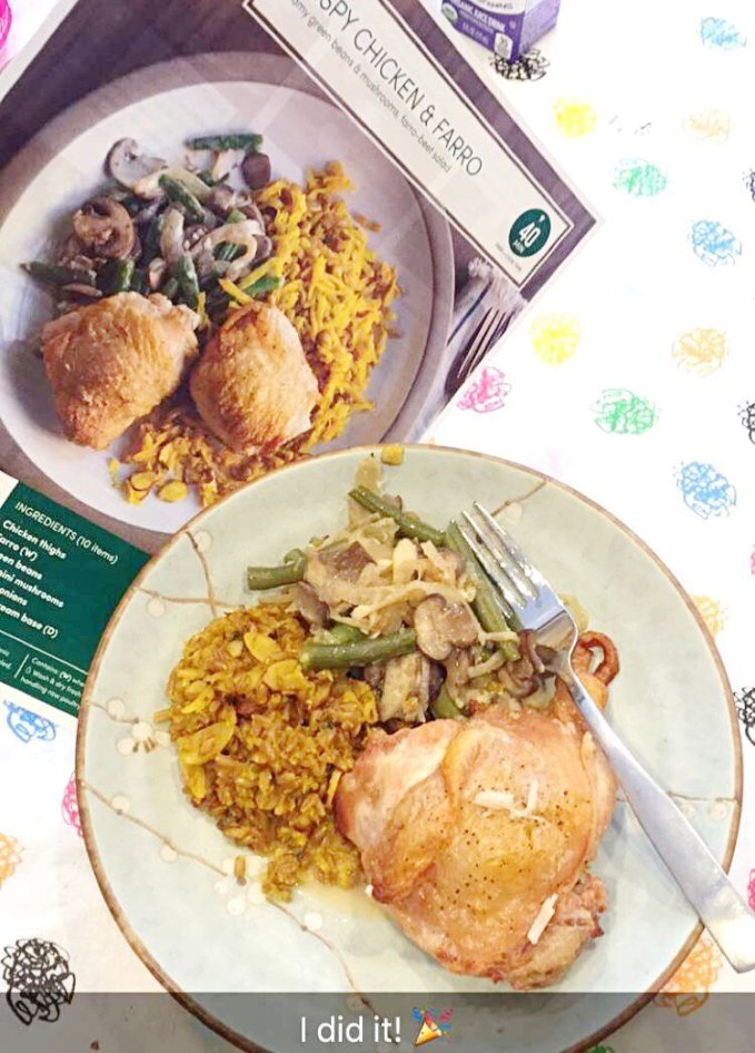 Green Chicken Crispy Chicken & Farro Creamy green beans & mushrooms, farro-beet salad