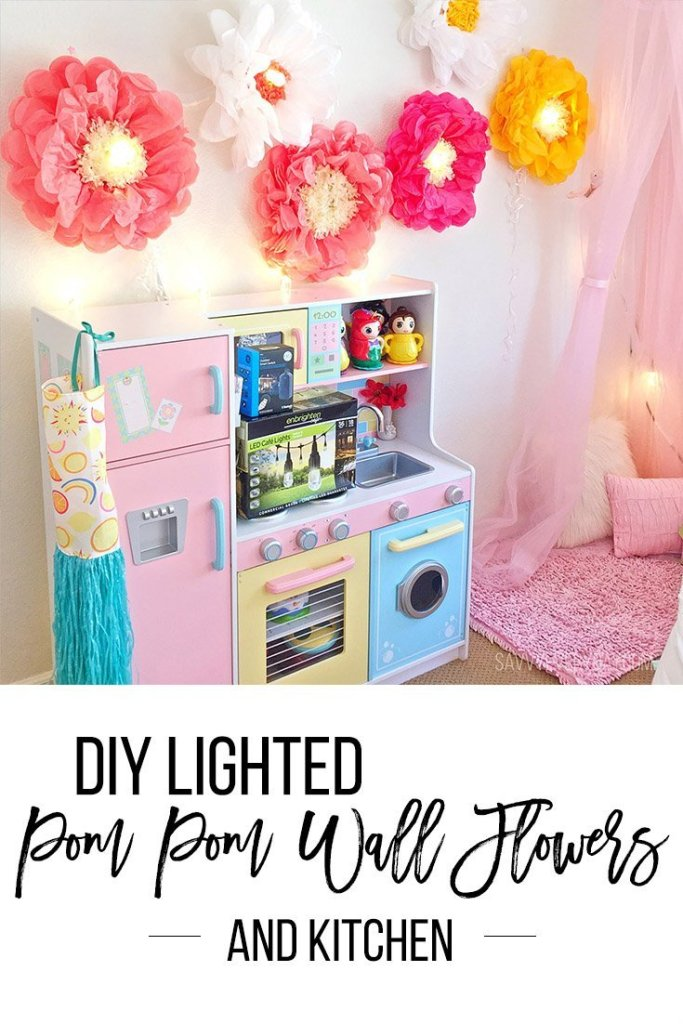 diy lighted pom pom flowers
