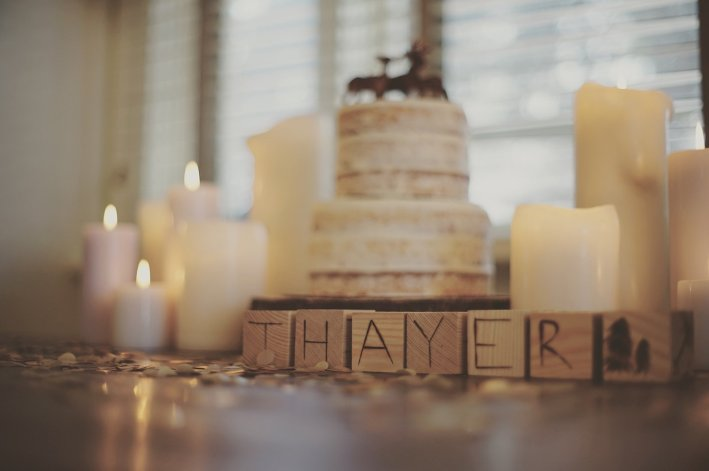 wooden blocks that say 'Thayer' at woodland birthday