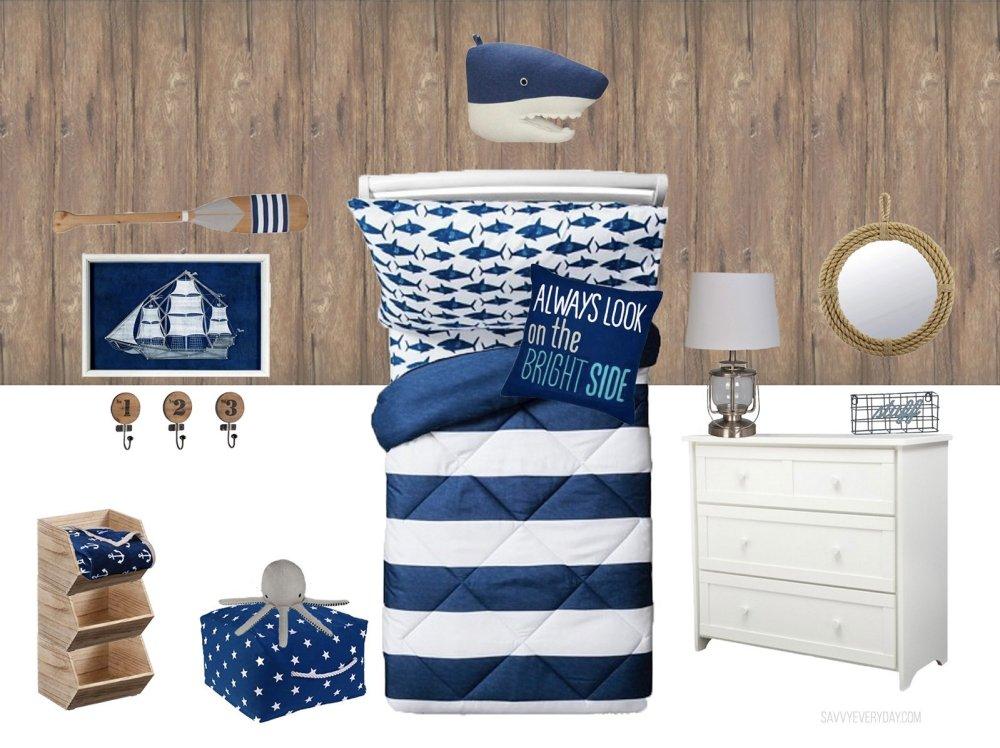 nautical kids room design mockup