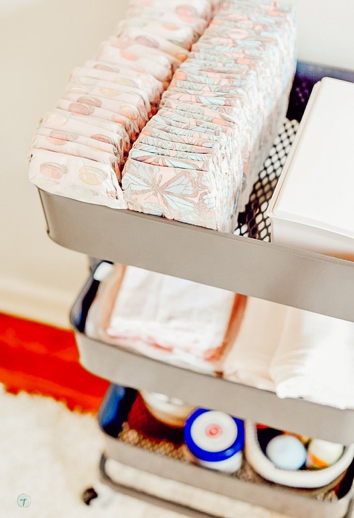 organized butterfly diapers to fit Wonderland nursery theme