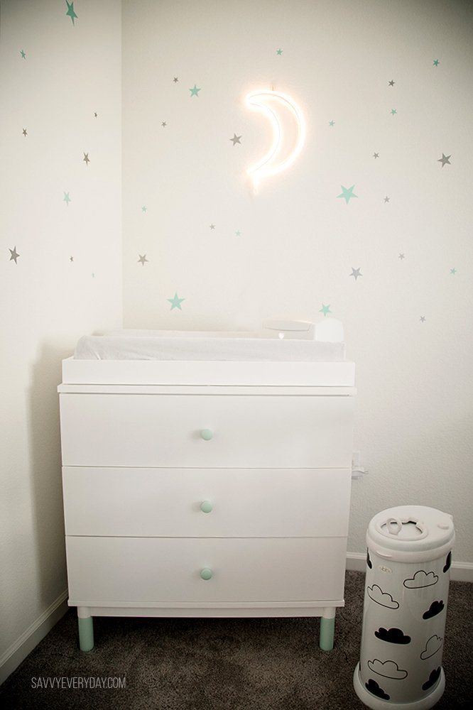 mint and white changing table