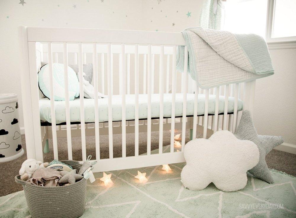 mint nursery room crib