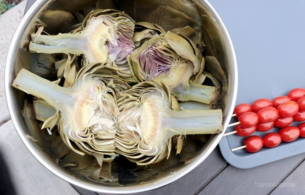 artichokes and tomatoes before grilling