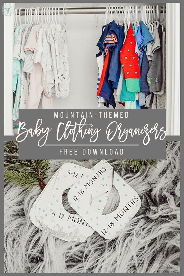 Clothing dividers are the best way to organize the heaps of baby clothes after a baby shower, and this free printable has cute mountains on it, too!