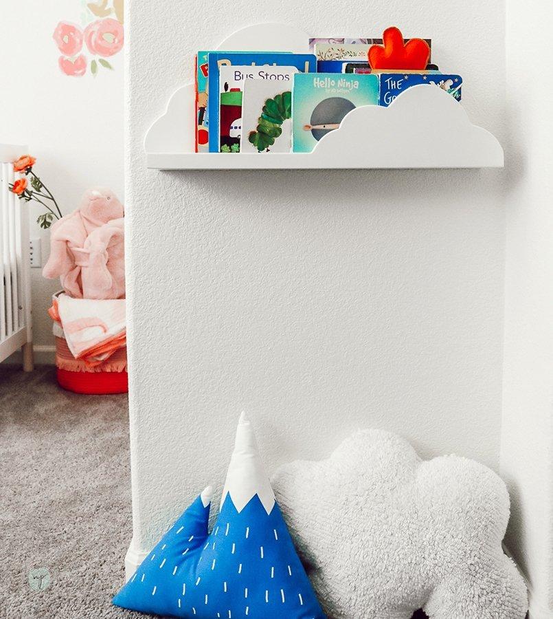book shelf in shared room