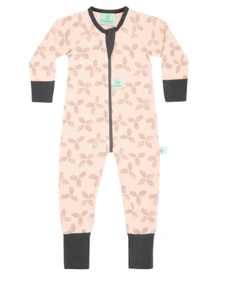 Pink long pajamas with darker pink floral design