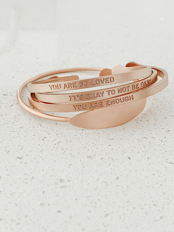 """Live Proverb engraved bracelets with different sayings on them like, """" You Are So Loved."""""""