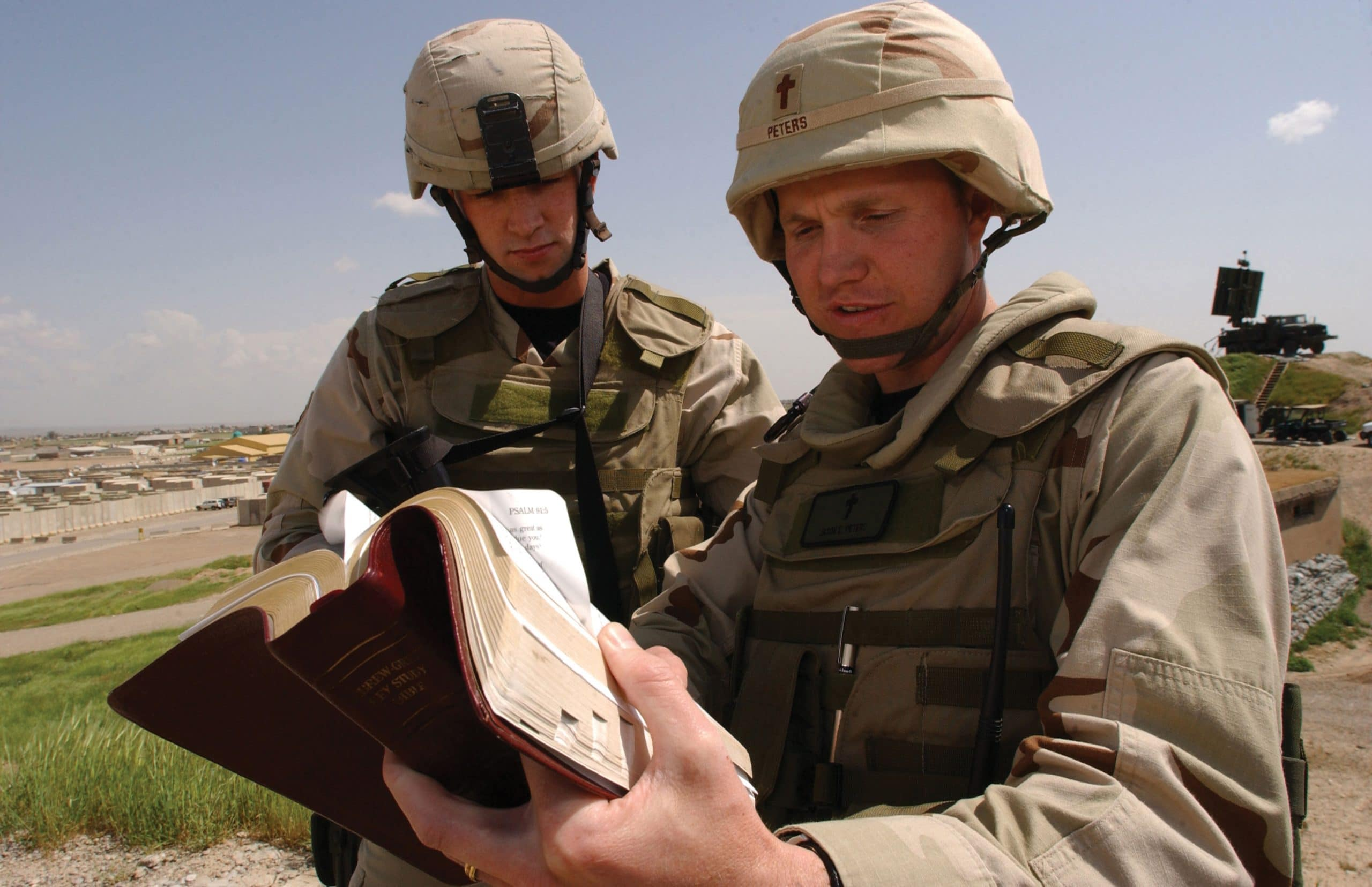 Chaplain Jason Peters, right, values the partnership of The Navigators in providing spiritual support to U.S. troops.