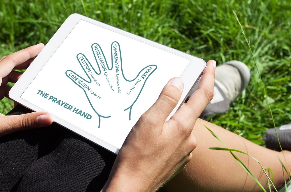 The Prayer Hand | The Navigators Evangelism Resources | Prayer hand illustration in a notebook on a table