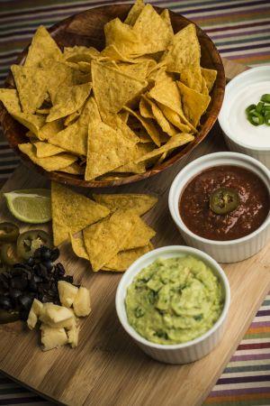 Nachos salsa guacamole mexican