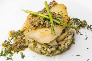 Risotto fish seafood asparagus