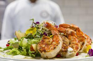 Salad grilled jumbo shrimps