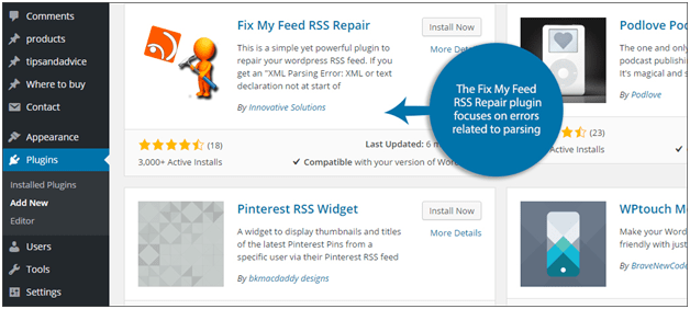 Fixing WordPress RSS feed errors using Plugin