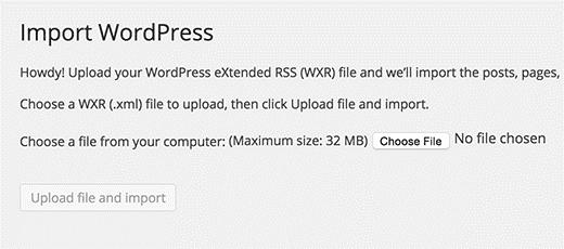 import wordpress screen