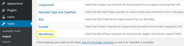 WordPress export file