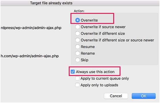 overwrite files