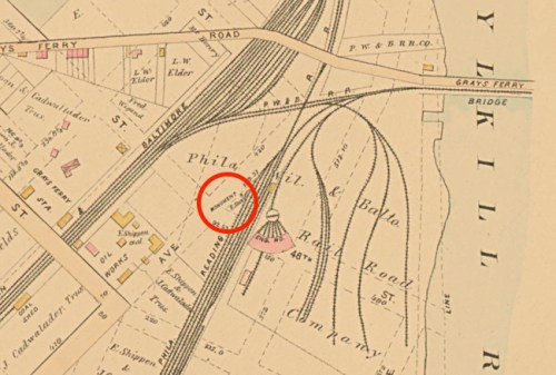 Map of West Philadelphia (Baist, 1886). Red circle: Newkirk Viaduct Monument.