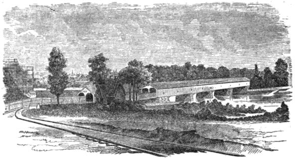 1838: The first permanent bridge across the Schuylkill at Gray's Ferry, shown in this 1856 woodcut, was built by the Philadelphia, Wilmington & Baltimore Railroad and named the Newkirk Viaduct after railroad president Matthew Newkirk.