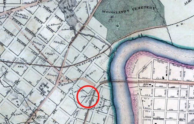 "1863: Smedley's Philadelphia Atlas. Red circle: ""Newkirk"""