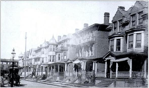 1908 photo looks northwest past 827 S. St. Bernard Street, right, and on toward Florence Avenue. (From <i>Philadelphia Neighborhoods</i> by Gus Spector)