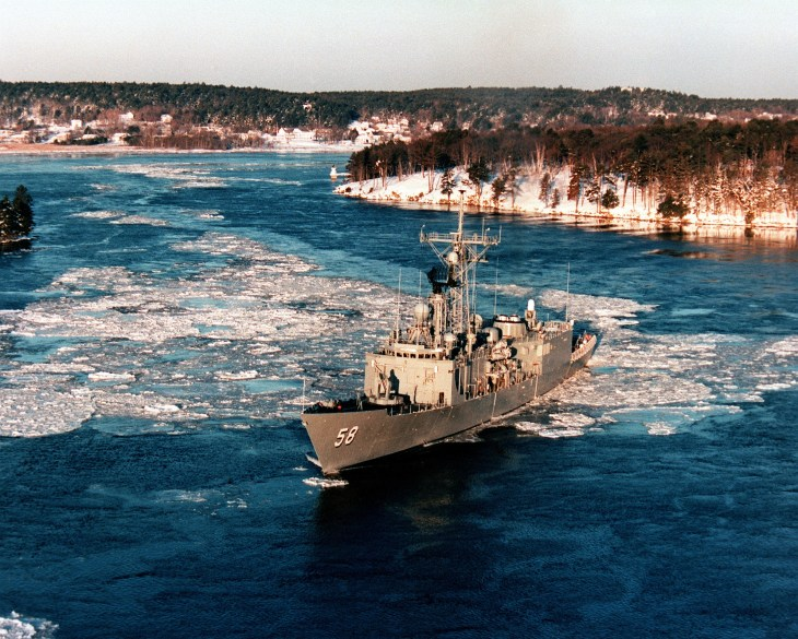 <i>Roberts</i> noses through winter ice on the Kennebec River on its 10-mile journey from Bath to the Atlantic Ocean.