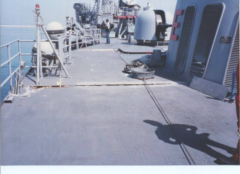 Crack atop the deckhouse (Photo by Lt. (j.g.) Robert Chambers)