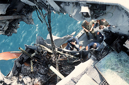 Looking down from atop the Stark's ravaged superstructure in the Persian Gulf in 1987.