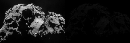 Comet 67P/Churyumov-Gerasimenko, taken from the Philae lander. (ESA)