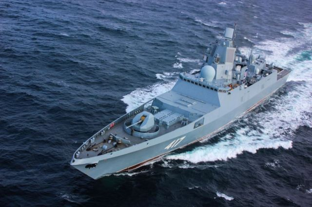 Russian project 22350 admiral kasatonov frigate test electronic warfare at sea