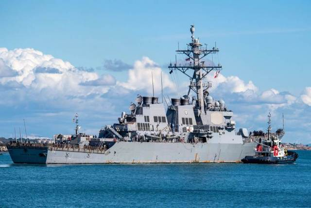 US Navy USS Donald Cook DDG 75 destroyer completes air defense exercise with Italian Navy