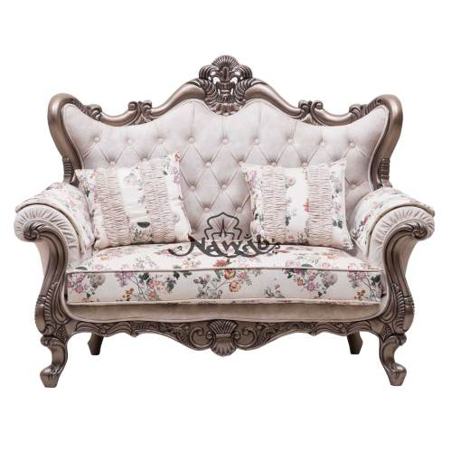 2 Seater Carved Sofa Polish colour Brown Polish-Pu, Fabric Colour Half White, Fabric Velvet