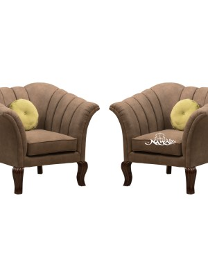 Suede fabric wooden frame with foam padding teak wood legs