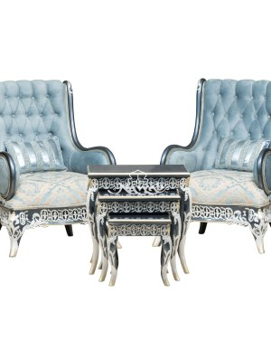 1 Seater Teak wood hand carved sofa blue white pearl polish with golden lining high-end suede upholstery table blue onyx top