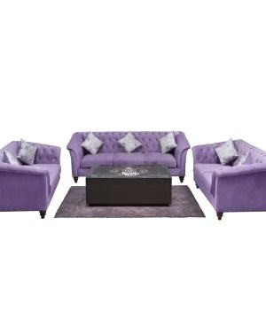 Velvet fabric wooden frame with foam padding teak wood legs
