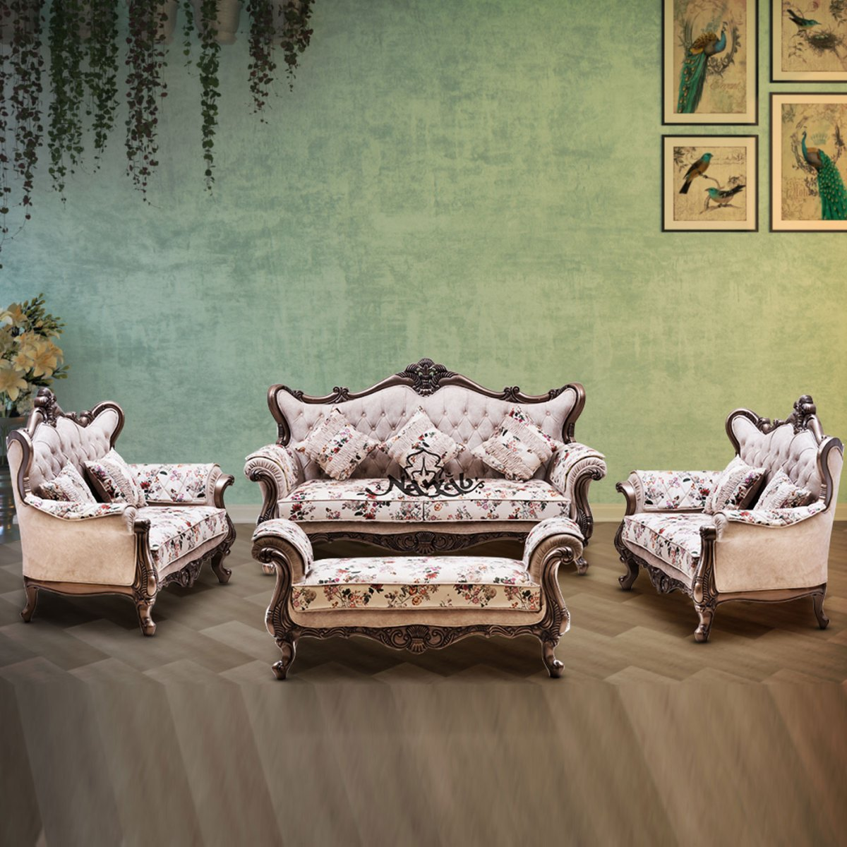 champagne polish suede velvet with print combination upholstery handcarved
