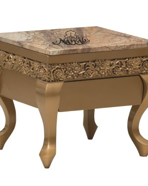 Customized carving and quilting solid teak wood british gold pu polish with storage drawer and pull out side table marble top
