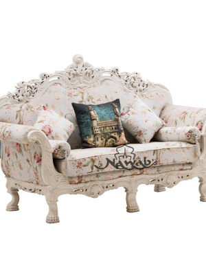 Hand carved sofa micro carving white PU mat polish cotton fabric single 2 seater