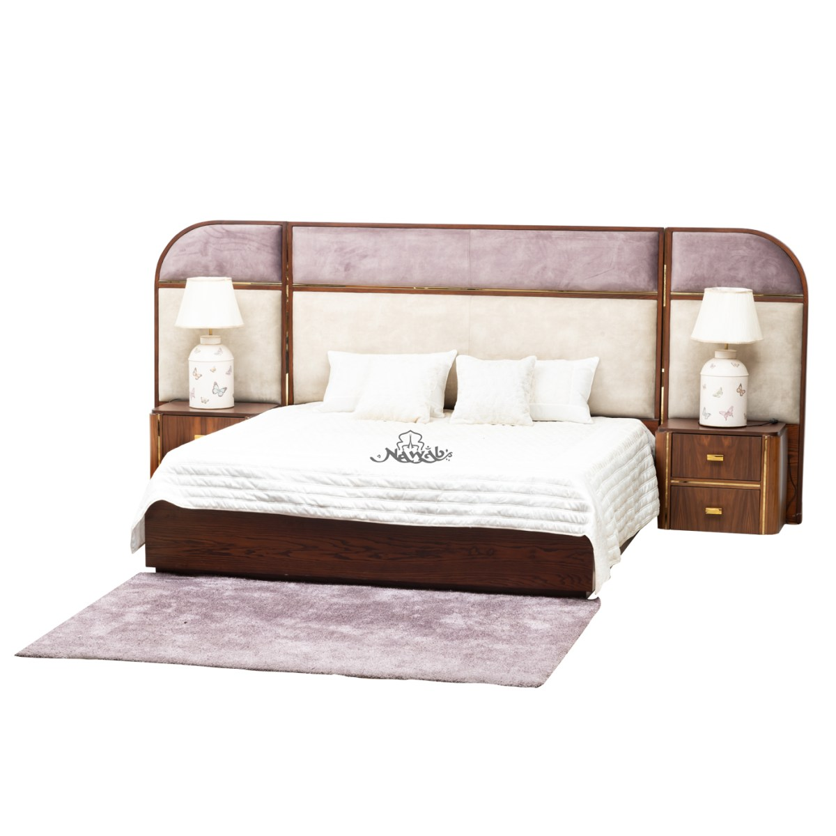 rosewood-grained-veneer-brass-strips-brass-handles-suede-upholstery-laminated-inside-hydraulic-bed--Chanel-pull-out-drawers