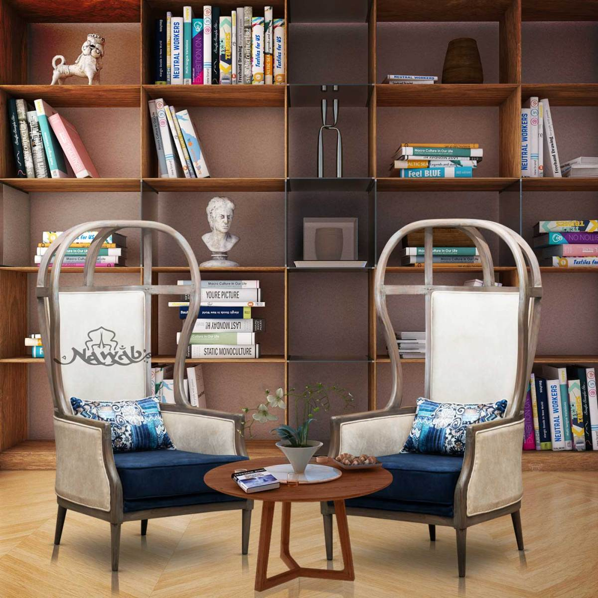 teak-wood-frame-distress-finish-suede-upholstery-blue-and-beige-background