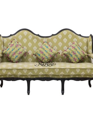 Teak wood victorian carving sofa cotton floral fabric with cushions melamine polish
