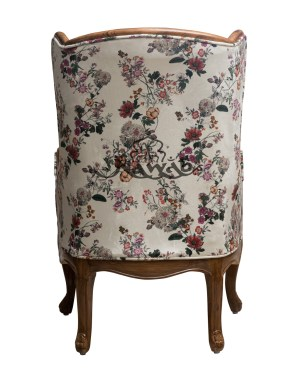 Teak wood with natural PU polish printed velvet classic chair