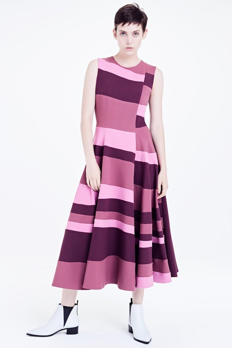 Roksanda Tatum Stripe Paneled Fit & Flare Dress