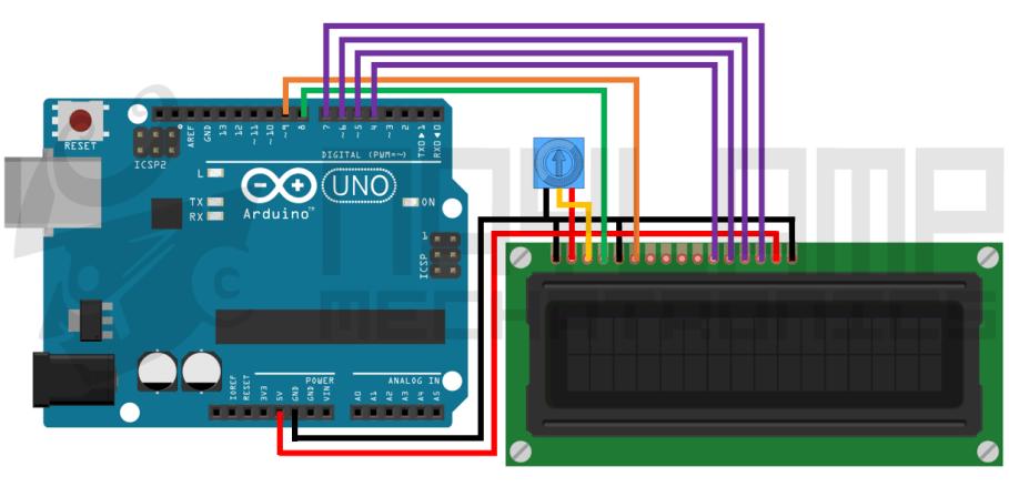 Conexion LCD1602 y arduino