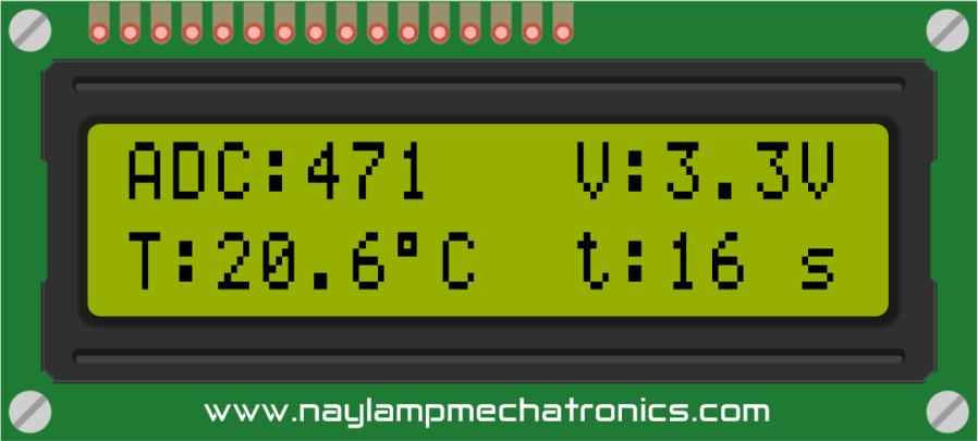 datos y variables con LCD de 16x2 y arduino