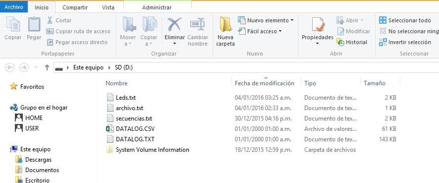 directorio datalogger csv arduino SD
