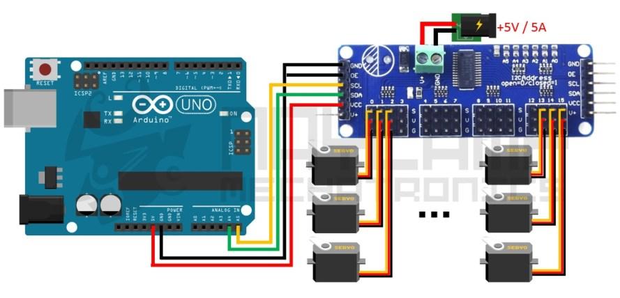 Conexion arduino y PCA9685