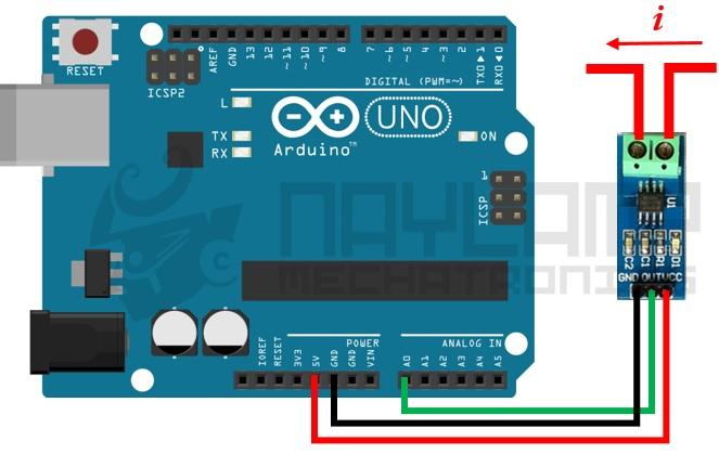 Conexiones entre ACS712 y Arduino