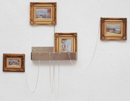 Untitled (Tourist Sculpture) [or Kit #4?], 1989, aluminum, hardware, and framed oil on canvas, 21 x 6 x 4 inches